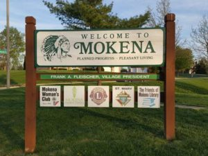 Photo of Mokena welcome sign - main street general roofing