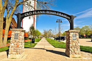 Photo of Frankfort Illinois historical landmark - old plank road trial - Main Street GC Inc roofing